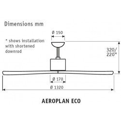 Ceiling fan DC 132 Cm modern white lacquered steel, solid wood blades, remote control, CASAFAN Eco Aeroplan WE NT