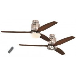 Ceiling Fan, DC 132 cm. modern, polished chrome, wood blades, walnut color CASAFAN AERODYNAMIX