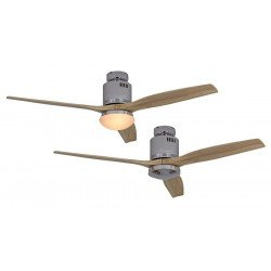 Ceiling Fan, DC 132 cm. modern, polished chrome, natural wood blades CASAFAN AERODYNAMIX