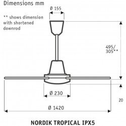 Ceiling fan Vortice 142 Cm Inox IPx5 ideal for industry , humid, dusty, corrosive