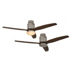 Ceiling Fan, DC 132 cm. modern, brushed chrome, wooden blades walnut color CASAFAN AERODYNAMIX