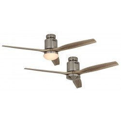 Ceiling Fan, DC 132 cm. modern, chrome brushed natural wood blades CASAFAN AERODYNAMIX