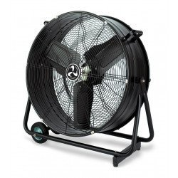 Industrial high velocity fan high performance 80 Cm 123 Watts, mounted on rollers and cage.