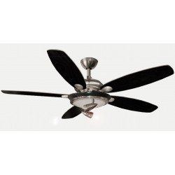 Ceiling Fan, chrome, 132 cm., White / black blades, three lamps 180W