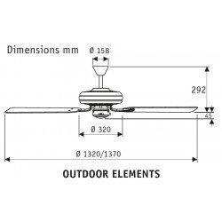 Outdoor ceiling fan IP44, bronze, palm blades, 132 Cm