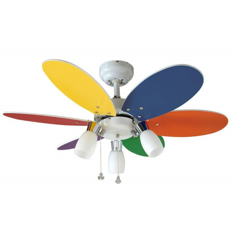 ceiling fan for children 92 Cm multicolored directional blades and 3 spot