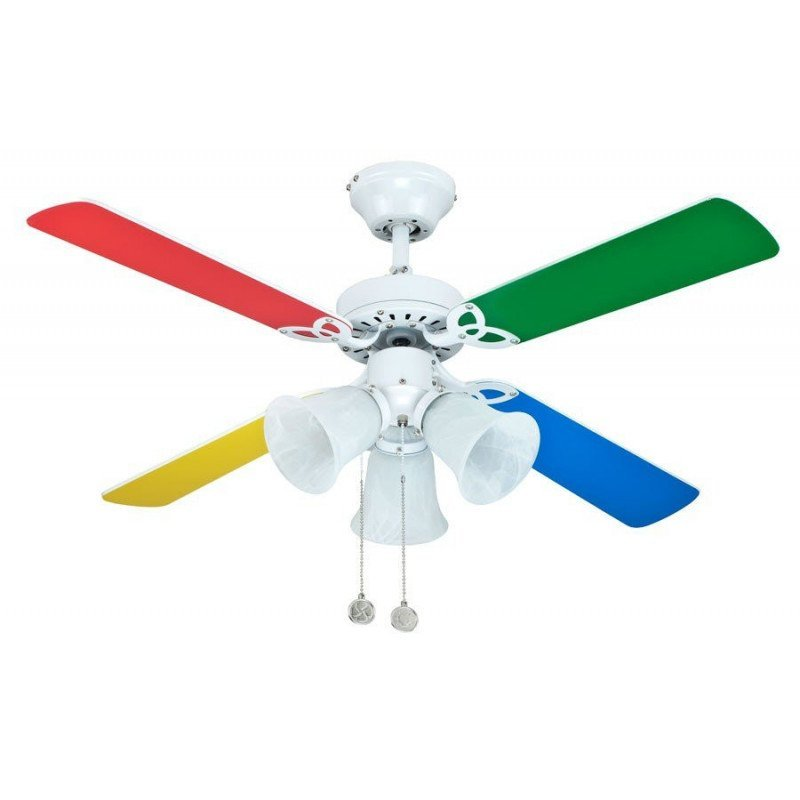 Ceiling fan Children 105 Cm silent blades and multicolored tulips 3 opals
