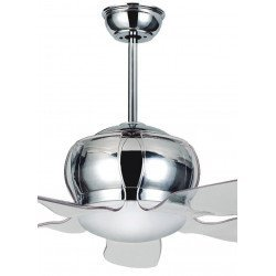 design ceiling fan with LED light, 132 Cm, reversible brushed chrome and acrylic, remote control