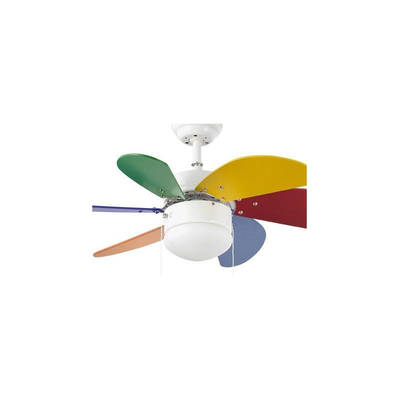 Ceiling Fan, CHILDREN, 81 cm. with integrated light FARO, multicolor PALAO 33180