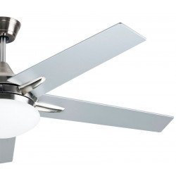 modern ceiling fan with LED light , 132 Cm, remote control, reversible gray/walnut blades