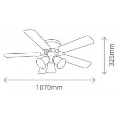ceiling fan, Westland, with 3 lights of 60 watts, distance ceiling blades 16 Cm!