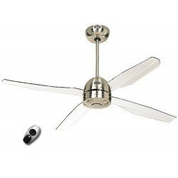 Ceiling fan with remote control. RF design, modern, 132 Cm. 2.3 or 4 blades white acrylic Casafan