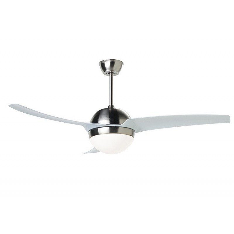 modern white ceiling fan and nickel 132 Cm reversible powerful remote control lighting.
