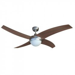 Modern Ceiling Fan 132 cm polished walnut and chrome blades and remote control