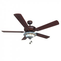 classic ceiling fan 132 cm chocolate color and blades Walnut / pin spot with tiffany glass