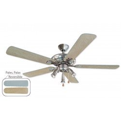 Ceiling fan 132 cm, 3 powerful lights, beech and silver gray blades