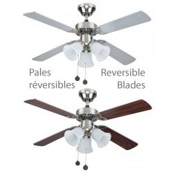 Ceiling fan silver and walnut 105 Cm silent 3 opal tulips