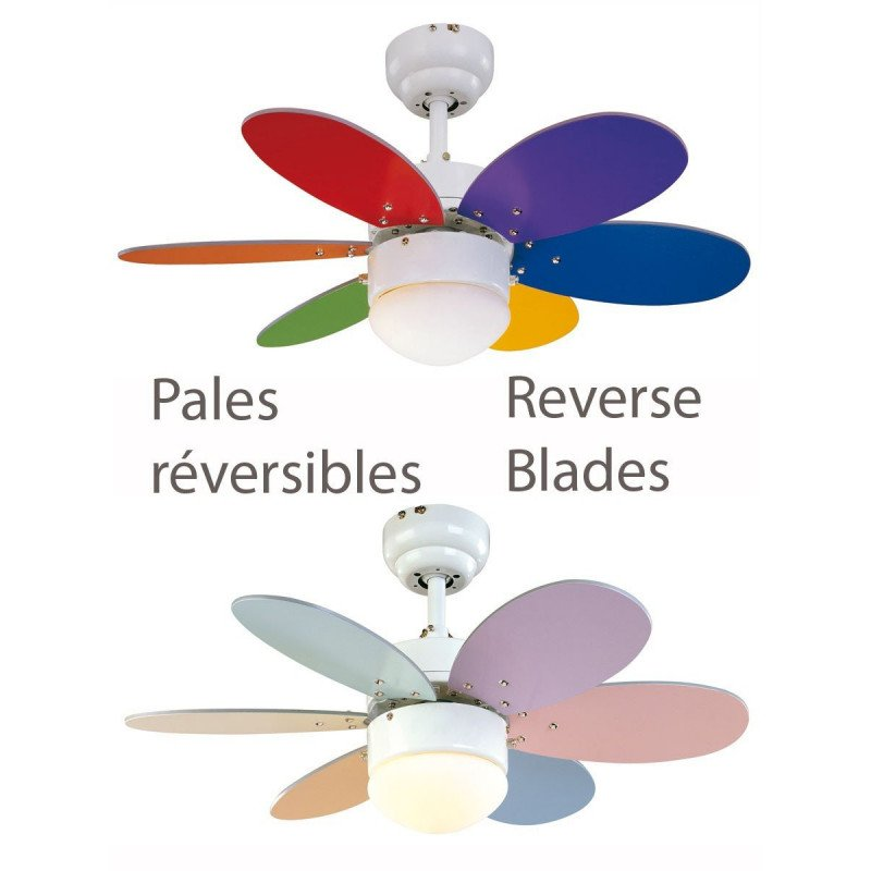 Ceiling fan pastel multicolor, 76 cm with integrated lamp blades multicolor and pastel and bright.