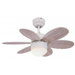 Ceiling fan grey 76 cm with integrated light and double sided blades.