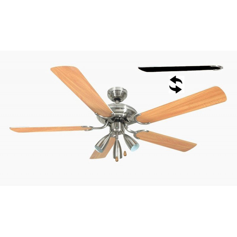 Ceiling Fan 132 cm, 3 powerful spotlights, reversible blades black /maple
