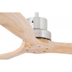 Modern ceiling fan with solid pine blades, body chrome, LANTAU 33370