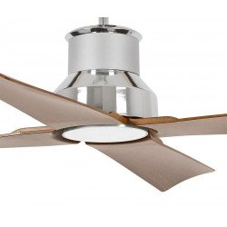 Large IP 44 outdoor ceiling fan with LED Light, Blades brown /basalt grey, DC 130 cm FARO WINCHE