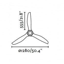 modern ceiling fan quiet design DC 128 cm wood blades, black engine JUST FAN FARO 33395 of CONILLAS