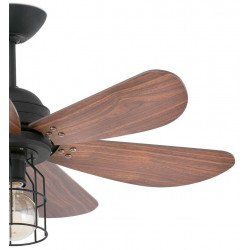 Ceiling Ceiling fan 91 cm with integrated lamp - CHICAGO - TEAK and structure Gray basalt