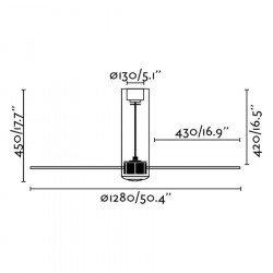 Designer ceiling fan DC 128 cm TUBE FAN glossy glass black and remote control 33711