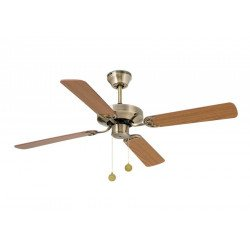 Yakarta Antique Brass and Beech / Oak a classic ceiling fan for medium rooms from 10 to 20 m²