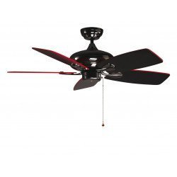 RedWin from Purline By KlassFan a reversible black nickel-plated ceiling fan with black/red blades and ultra design
