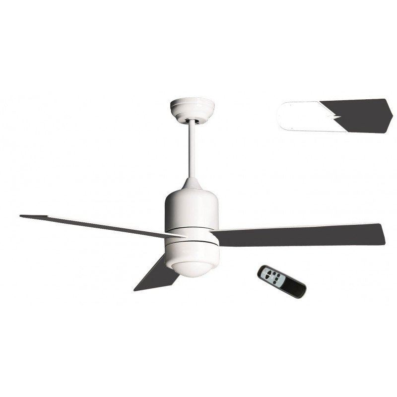 Sirocco by KlassFan a reversible ceiling fan White with Led lamp, blades - white and black - remote control