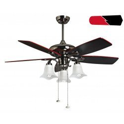 RedWin from Purline By KlassFan a reversible black nickel-plated ceiling fan,black/red blades, with led light