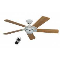 Ceiling Fan, Ceiling fan, Rotary WE, modern 132 Cm, white lacquered, beech blades, Remote control, CASAFAN