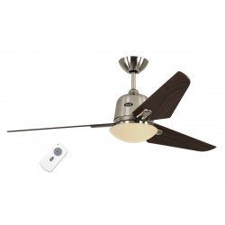 Eco Ceiling Fan DC AVIATOS BN-KI, modern 132 Cm. brushed chrome, maple blades, lamp, ultra-quiet