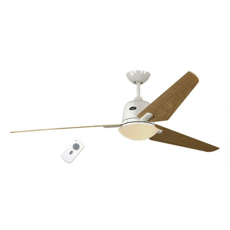 Ceiling fan DC Eco AVIATOS WE-AH, modern 162 Cm white lacquered, maple blades with ultra-quiet lamp