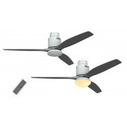 CASAFAN AERODYNAMIX - Ceiling fan DC, modern 132 Cm lacquered white, silver gray wooden blades, with light and remote control