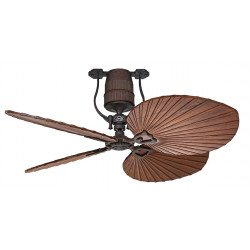 Roadhouse BA CASAFAN - Vintage ceiling fan, motor bronze blades 132 Cm cherry wood, DC motor, remote control
