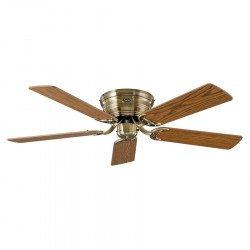 Ceiling Fan, Classic Flat, 132 Cm, silent, polished brass, blades oak / beech CASAFAN