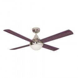 Modern Ceiling Fan 122 cm satin chrome two blades faces, wenge and silver