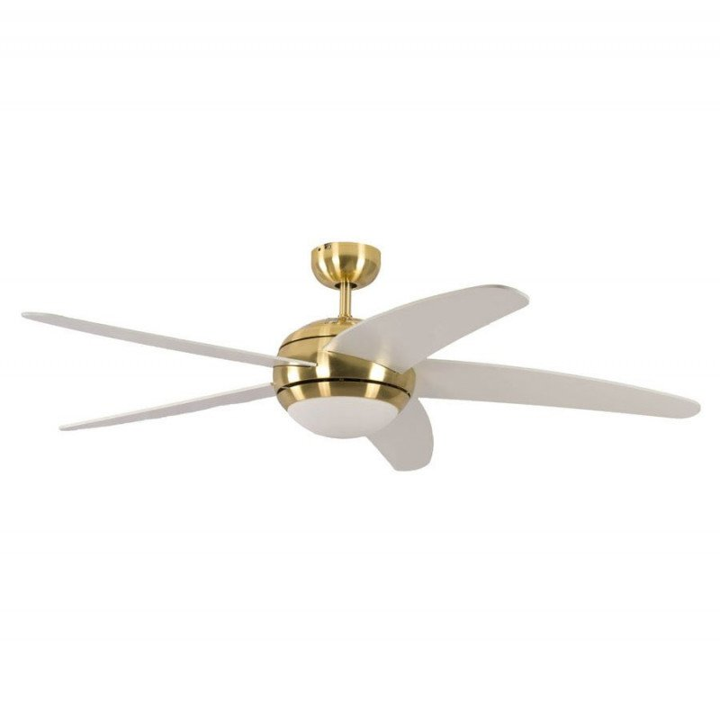 ceiling fan, quiet design 132 Cm Polished brass blades white color, with lamp Pepeo Melton