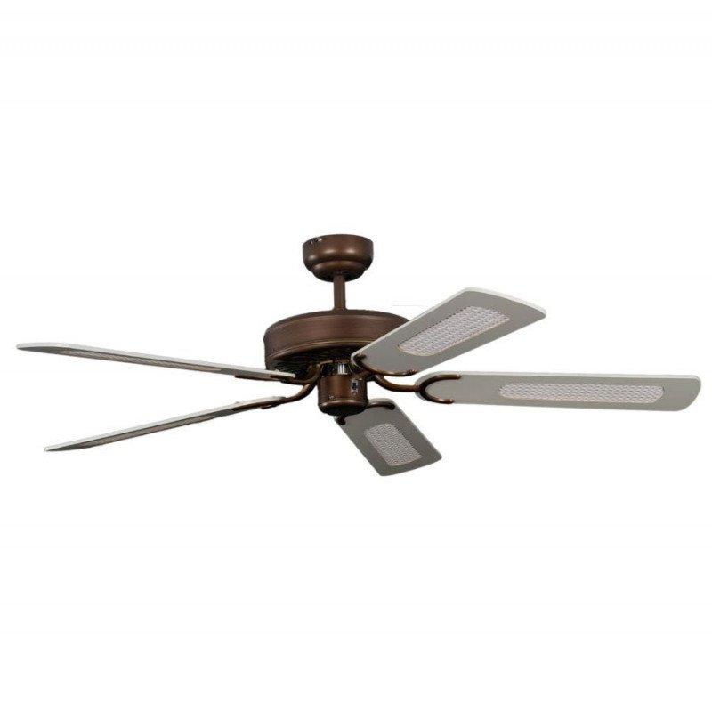 ceiling fan, classic, silent, 132 Cm. abody painted antique bronze white color blades Potkuri Pepéo.