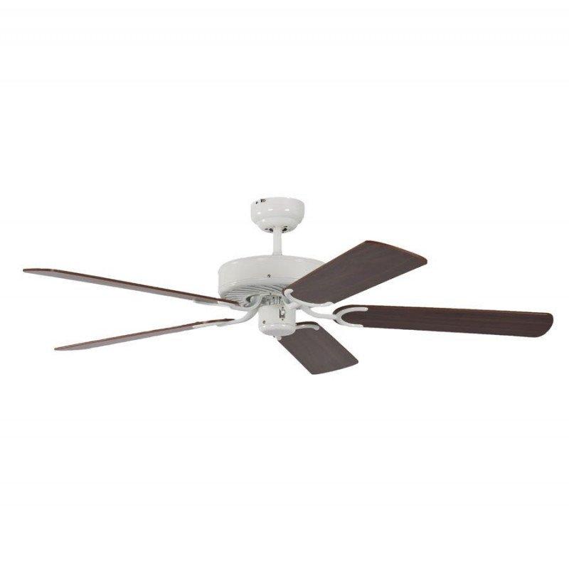 ceiling fan, classic, silent, 132 Cm.white lacquer walnut blades Potkuri Pepéo.