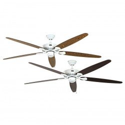 Ceiling fan, Royal WE, classic 180 Cm, white lacquered, blades old oak and walnut, CASAFAN