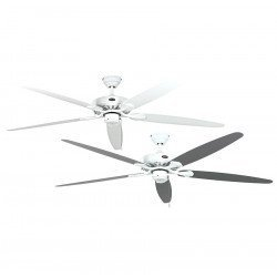 Ceiling fan, Royal WE, classic 180 Cm, White lacquer, white and gray lacquered blades, CASAFAN