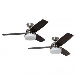 antique bronze ceiling fan with light, quiet, modern brushed chrome 122 cm Hunter Galileo.