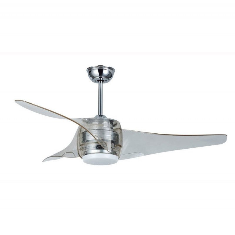 design ceiling fan with lamp LED 127 Cm reversible brushed chrome and acrylic remote control.