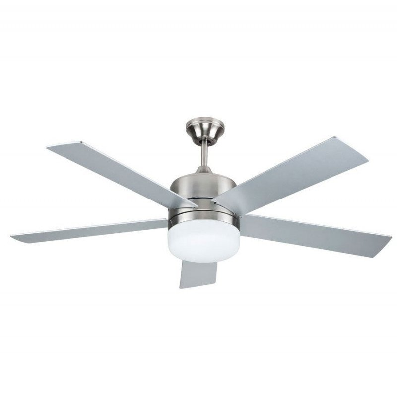 modern ceiling fan 132 Cm with LED lamp, remote control, reversible, gray or teak blades