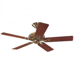 Savoy Hunter Ceiling Fan polished brass and pink or oak wood blades, silent, 132cm