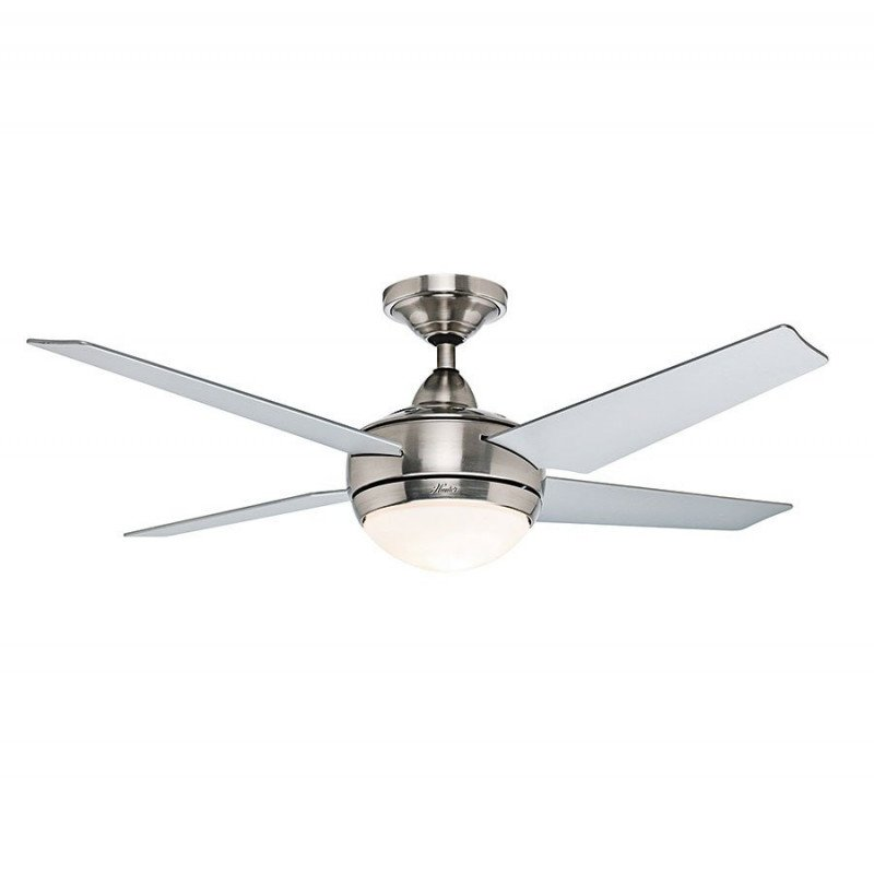 Ceiling fan Sonic chromed body and grey blades, silent, 132 cm